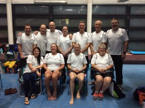 The Masters Swimmers at Sheffield with coach Pauline